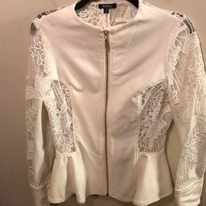 Ivory Women's Peplum Lace Blazer Sz Medium